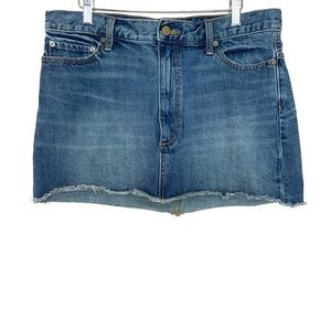 Free People Raw Hem Denim Jean Mini Skirt